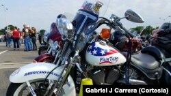 Para peserta pawai motor besar berkumpul di di Washington DC untuk memperingati Memorial Day, Minggu (28/5).