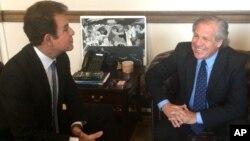 Nasralla junto al secretario de la OEA, Luis Almagro.