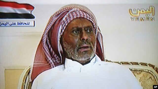 A still image from a video broadcast on Yemen TV shows Yemen's President Saleh speaking from an undisclosed location in Saudi Arabia, July 7, 2011