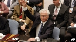 Russian representative Vitaly Churkin vetoes a draft resolution backing an Arab League call for Syrian President Bashar Assad to step down during a meeting of the United Nations Security Council at United Nations headquarters on Saturday, Feb. 4, 2012.
