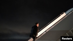 U.S. Secretary of State Mike Pompeo makes his way to board a flight from Andrews Air Force Base in Maryland, as he heads for Rovaniemi, Finland to attend the Arctic Council Ministerial Meeting, May 5, 2019.