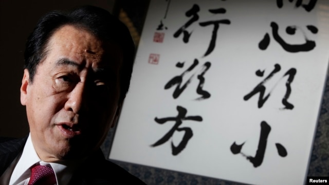 Japan's former prime minister Naoto Kan speaks during an interview with Reuters in Tokyo, Feb. 17, 2012.