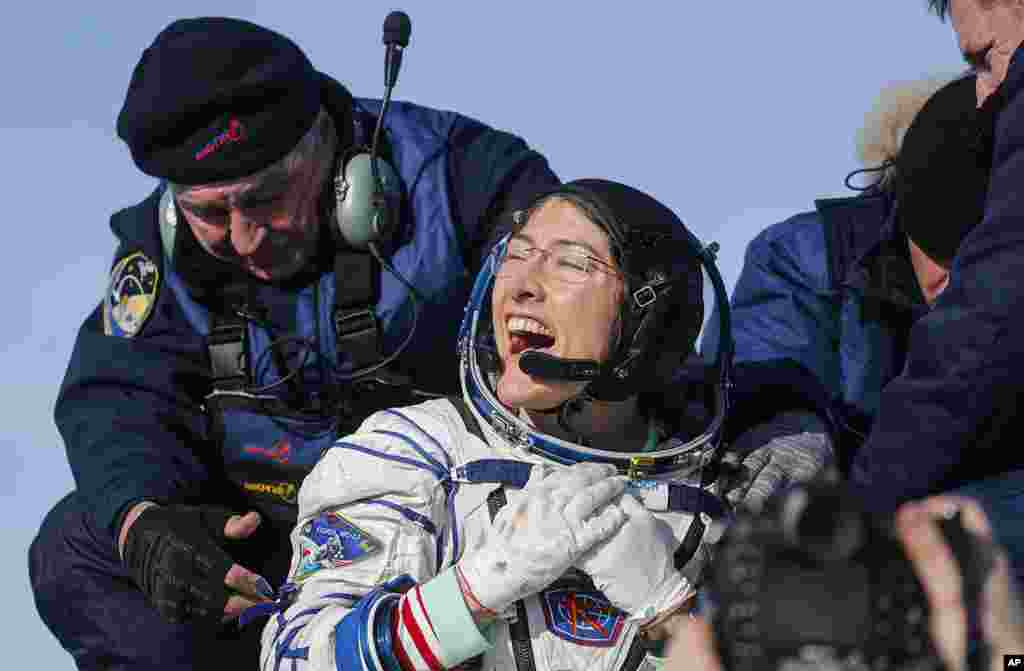 U.S. astronaut Christina Koch reacts shortly after the landing of the Russian Soyuz MS-13 space capsule about 150 km ( 80 miles) south-east of the Kazakh town of Zhezkazgan, Kazakhstan. Koch wrapped up a 328-day mission on her first flight into space, providing researchers the opportunity to observe effects of long-duration spaceflight on a woman as the agency plans to return to the Moon under the Artemis program.