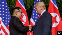 FILE - U.S. President Donald Trump shakes hands with North Korea leader Kim Jong Un at the Capella resort on Sentosa Island in Singapore, June 12, 2018.