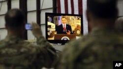 Barak Obama Afg'onistondagi Bagrom harbiy havo bazasidan turib, Amerika xalqiga murojaat qildi, 2-may, 2012