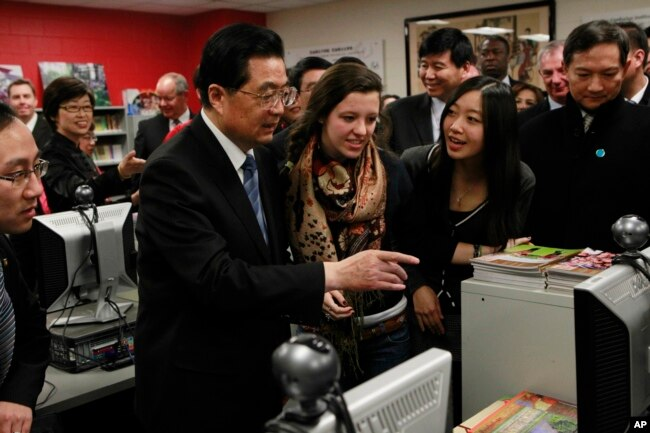 On Jan. 21, 2011, then-Chinese President Hu Jintao visits the The Confucius Institute which is housed at Walter Payton College Preparatory High School in Chicago.