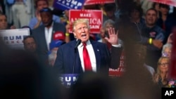 Republican presidential candidate Donald Trump speaks at a campaign rally in Akron, Ohio, Aug. 22, 2016.