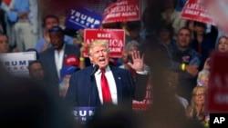 2016年8月22日共和党总统候选人川普在俄亥俄州一次竞选集会上。