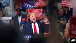 Ứng viên Tổng thống của Đảng Cộng hòa Donald Trump phát biểu trong cuộc vận động tranh cử ở Akron, Ohio, ngày 22/8/2016.