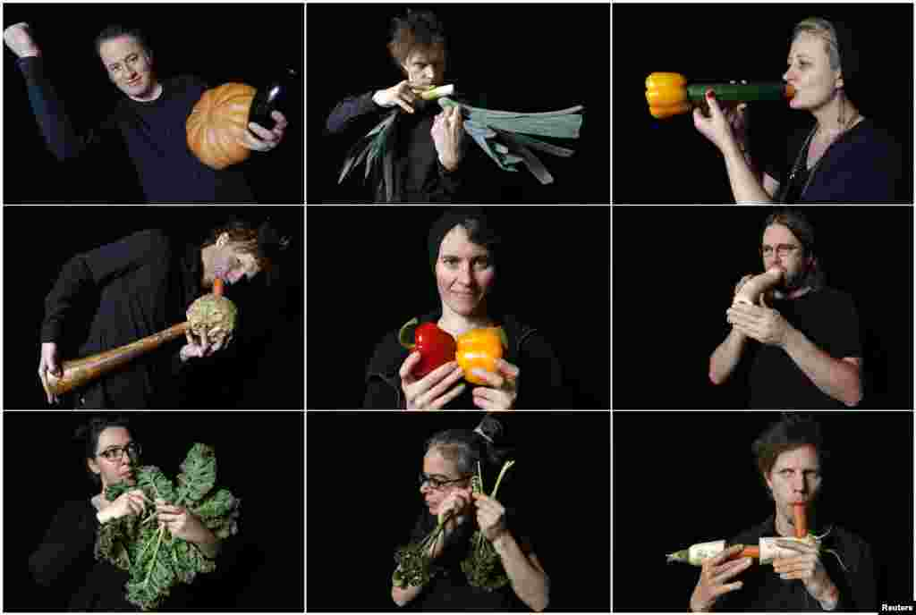 A combination picture shows musicians from the Vegetable Orchestra posing with their instruments which are made from vegetables, in Haguenau, eastern France.