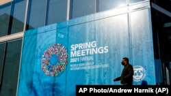 Gedung Dana Moneter Internasional (IMF) di Washington, D.C., 5 April 2021. (AP Photo/Andrew Harnik)