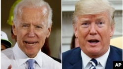 FILE - Former Vice President Joe Biden speaks in Collier, Pa., March 6, 2018, and President Donald Trump speaks in the Oval Office of the White House in Washington, March 20, 2018.