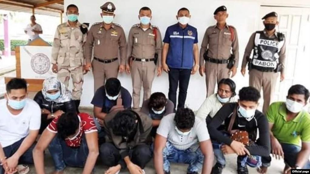ၿပီးခဲ့တဲ့ရက္ေတြအတြင္း ထုိင္းႏုိင္ငံ ကန္ခ်နဘူရီခ႐ိုင္ထဲ ခိုးဝင္လို႔ ဖမ္းဆီးခံထားရတဲ့ ျမန္မာႏိုင္ငံသားမ်ား။ (ဓာတ္ပုံ - Thai Police official)