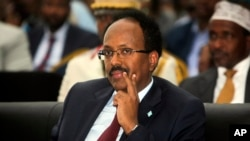 FILE - Somalia's President Mohamed Abdullahi Mohamed, also known as Farmajo, attends his inauguration ceremony in Mogadishu, Somalia, Feb. 22, 2017.
