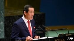 北韓常駐聯合國代表金星2019年9月30日在聯合國大會上發言。