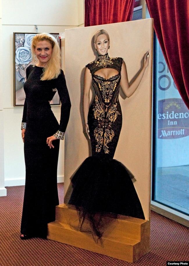 Оксана Танасів із авторською картиною