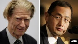 A combination of two recent pictures shows at Left John Gurdon of Britain and at Right Shinya Yamanaka of Japan, who both won the Nobel Prize on October 8, 2012 for work in cell programming.