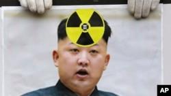 Un manifestante surcoreano protesta contra la prueba nuclear realizada por Corea del Norte.
