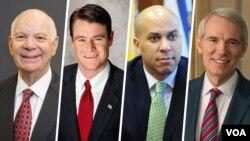 از راست سناتورها راب پورمن (جمهوریخواه)، کوری بوکر (دموکرات)، تد یانگ (جمهوریخواه) و بن کاردن (دموکرات