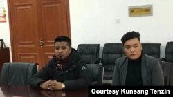 Image shows two Kwai app users accused of violating the app rules and called to the Dagkar County office under Tsolho Tibetan Prefecture in Qinghai Province, Jan. 15, 2020. Photo courtesy of Kunsang Tenzin.