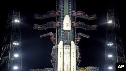 This July 2019, photo released by the Indian Space Research Organization (ISRO) shows its Geosynchronous Satellite Launch Vehicle (GSLV) MkIII-M1 at its launch pad in Sriharikota, an island off India's south-eastern coast.