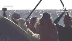 Каліфорнійський серфінгіст катається на хвилях разом зі своїм козлом. Відео