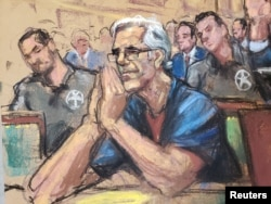 FILE - Financier Jeffrey Epstein looks on during a bail hearing in his sex trafficking case, in this court sketch in New York, July 15, 2019.