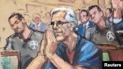 Financier Jeffrey Epstein looks on during a bail hearing in his sex trafficking case, in this court sketch in New York, July 15, 2019.