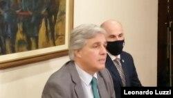 Francisco Bustillo, ministro de Relaciones Exteriores de Uruguay, presentó sus lineamientos para la cancillería el 20 de julio de 2020. [Foto: Leonardo Luzzi, VOA]