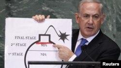 بنیامین نتانیاهو می گوید ایران تا تابستان آینده می تواند بمب اتم بسازد.