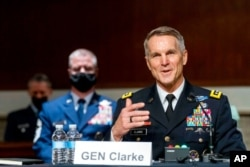 Special Operations Command Gen. Richard Clarke speaks at a hearing on Capitol Hill, March 25, 2021.