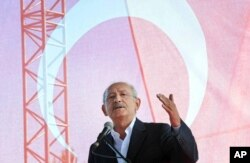 FILE - Kemal Kilicdaroglu, leader of Turkey's main opposition Republican's People Party, or CHP, talks during an event in Canakkale, Turkey, Aug. 26, 2017.