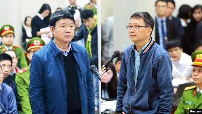 """Cựu ủy viên Bộ Chính trị, Đinh La Thăng (trái), và cựu lãnh đạo ngành dầu khí Trịnh Xuân Thanh bị kết án trong cuộc chiến chống tham nhũng mà ông Trọng ví von là """"đốt lò."""""""