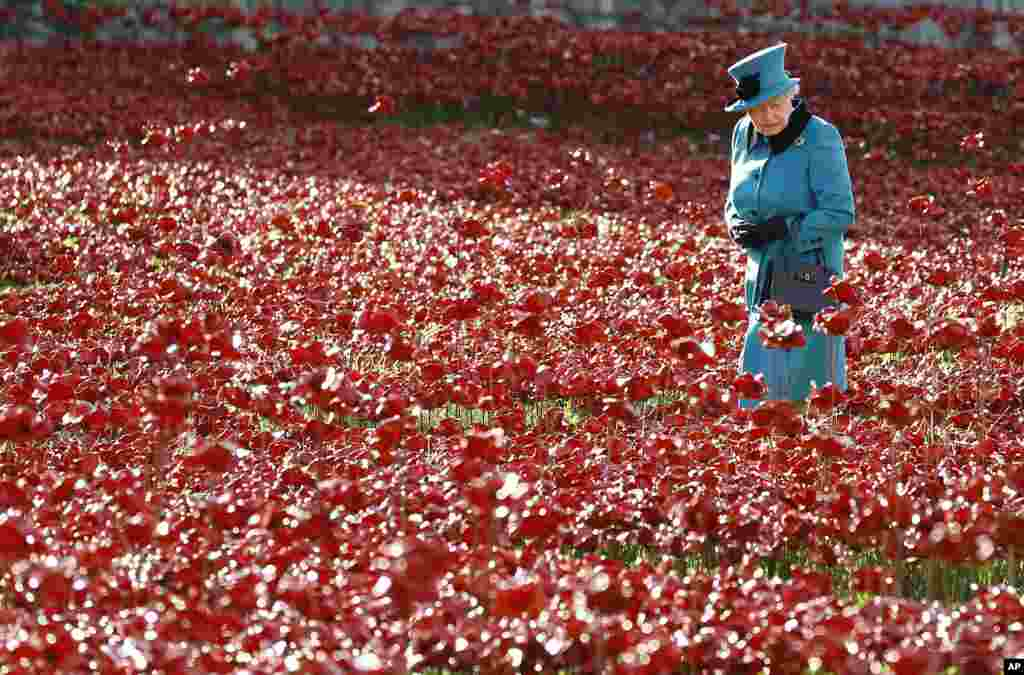 Britain's Queen Elizabeth II walks through a field of ceramic poppies at The Tower of London.