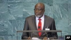 Malam Bacai Sanha, President of the Republic of Guinea-Bissau, addresses the United Nations General Assembly at the U.N. headquarters, in New York, September 2010. (file photo)