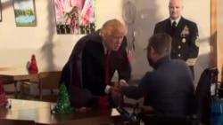 川普总统和美国高官圣诞节前访问部队