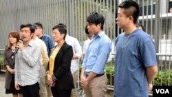 香港民間人權陣線召集人區諾軒公佈11月6日反釋法遊行詳請。(美國之音湯惠芸)