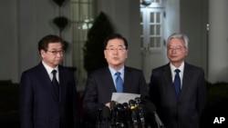 Beyaz Saray dışında açıklama yapan Güney Kore Ulusal Güvenlik Danışmanı Chung Eui-yon