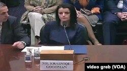 Vasfije Krasnići Gudman i Iljir Bitići tokom današnjeg svedočenja pred Odborom za spoljne poslove Predstavničkog doma