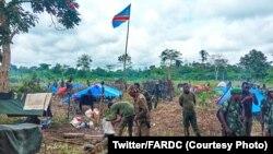 Mampinga ya FARDC na Kididiwe, nsima na kobotola esika eye na ba ADF, na Beni, Nord-Kivu, 12 novembre 2019. (Twitter/FARDC)