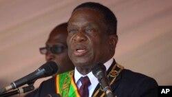 Le président Emmerson Mnangagwa à Harare, 13 août 2018.