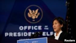 被時為當選總統拜登提名為美國貿易代表的戴琪在一個記者會上講話。(2020年12月11日)