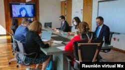Instantánea de la reunión virtual realizada el 23 de marzo de 2021 entre representantes comerciales de EE. UU. y México. [Foto: Cortesía de la Secretaría de Economía de México]