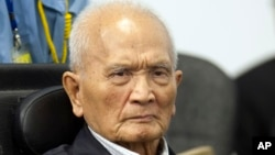 Nuon Chea, who was the Khmer Rouge's chief ideologist and No. 2 leader, waits before his final statements at the U.N.-backed war crimes tribunal in Phnom Penh, Cambodia, Thursday, Oct. 31, 2013.
