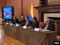ACNUR, OIM y la Cancillería de Colombia, presentes durante el lanzamiento del RMRP, en Bogotá. Foto: Karen Sánchez, VOA.