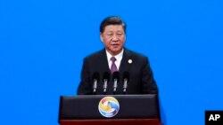 시진핑 중국 국가주석이 26일 베이징에서 열린 '제2회 일대일로 정상포럼' 개막식에서 기조연설을 하고 있다.