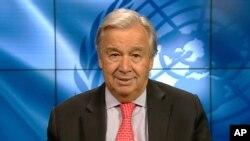 El secretario general de la ONU, Antonio Guterres habla en una transmisión de video del Ministerio de Medio Ambiente de Japón, el 3 de septiembre de 2020.