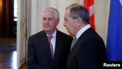 Rex Tillerson et Sergueï Lavrov, Moscou, Russie, le 12 avril 2017.