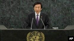 한국의 윤병세 외교부장관이 27일 유엔 총회에서 한국 정부 대표로 기조연설을 했다.