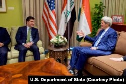 U.S. Secretary of State John Kerry, right, sits with Kurdistan Regional Government Prime Minister Nechirvan Barzani, at the Chief of Mission Residence at the U.S. Embassy in Baghdad, Iraq, April 8, 2016.